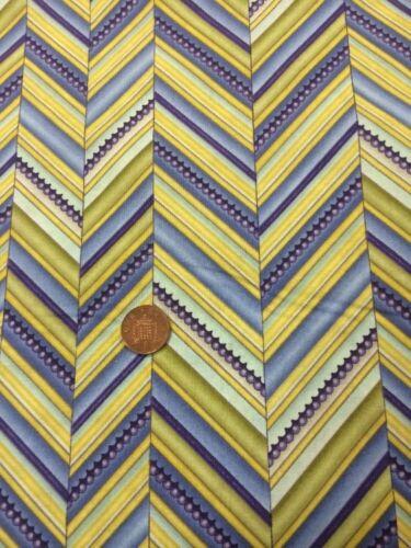 100/% Cotton quilting craft Fabric Blue Green Yellow Benartex Zigzag Stripe