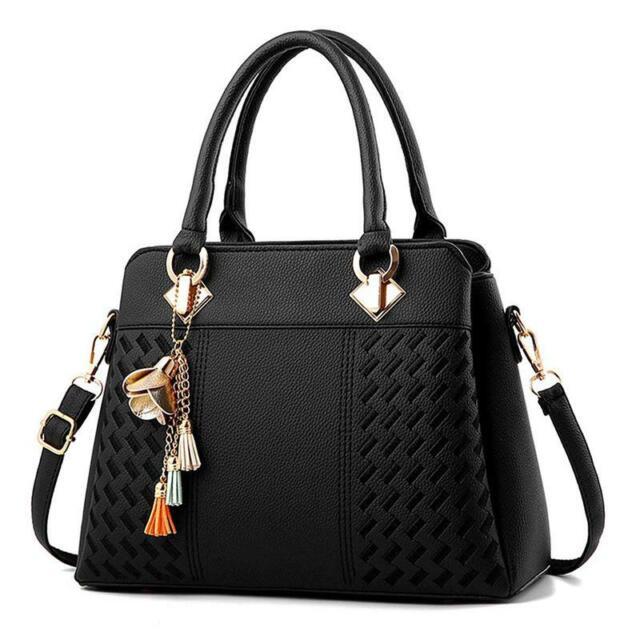 1X(Women Handbags Ladies Purses Satchel Shoulder Bags Tote Bag(Black) D5B7)