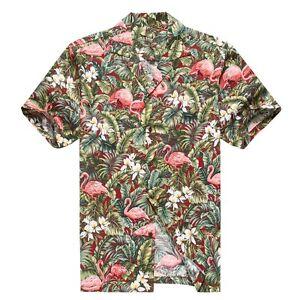 Made-in-Hawaii-Men-Aloha-Shirt-Luau-Cruise-Party-Pink-Flamingo-Jungle-Red