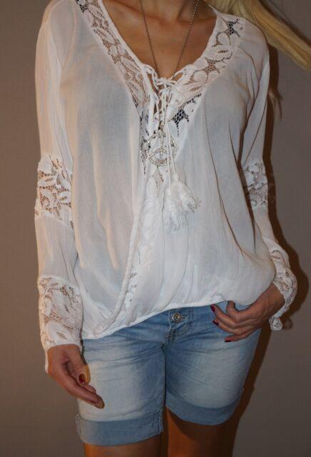 Bezaubernde Häkel Tunika Wickel Bluse Sexy Blogger Shirt S 36-42 Weiß  Top Trend