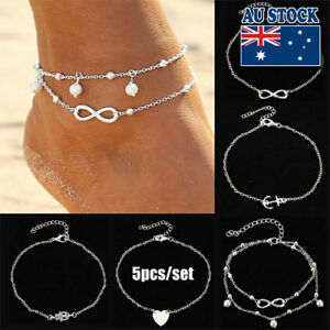 0ee863ba0d6 Classic 5 Pcs 18K Gold Plated Love Heart Infinity Pearl Anklet Set ...