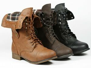 Brown Fold down Plaid Mid-Calf Lace-Up Military Combat Boots Top