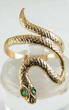 LOVELY DETAILED 9CT SOLID GOLD EMERALD EYES COILED SNAKE RING FREE RESIZE