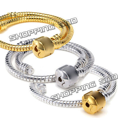 RUBYCA European Snake Chain Charm Bracelet Silver Gold Black for Jewelry Making