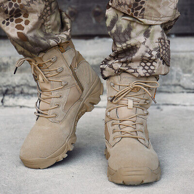 Mens High Top Military Tactical Boots Desert Army Hiking Combat Ankle Boots size