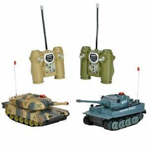 Twin Remote Control Battle Tank Game Infrared Radio RC Shooting Geman Tiger  M1a2