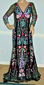 New-3-495-Temperley-London-Woodland-Embroidered-Long-Maxi-Dress-Gown-UK-10-US-6