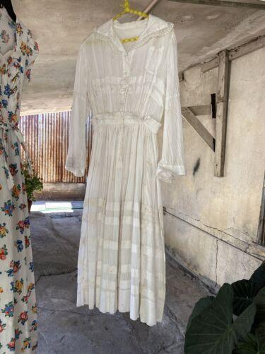 Antique Edwardian Rose Chintz Print Maxi Dress Str