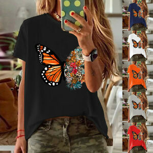 Womens-Holiday-Ladies-Blouse-Butterfly-T-Shirt-Tee-Floral-Sweatshirt-Casual-Tops