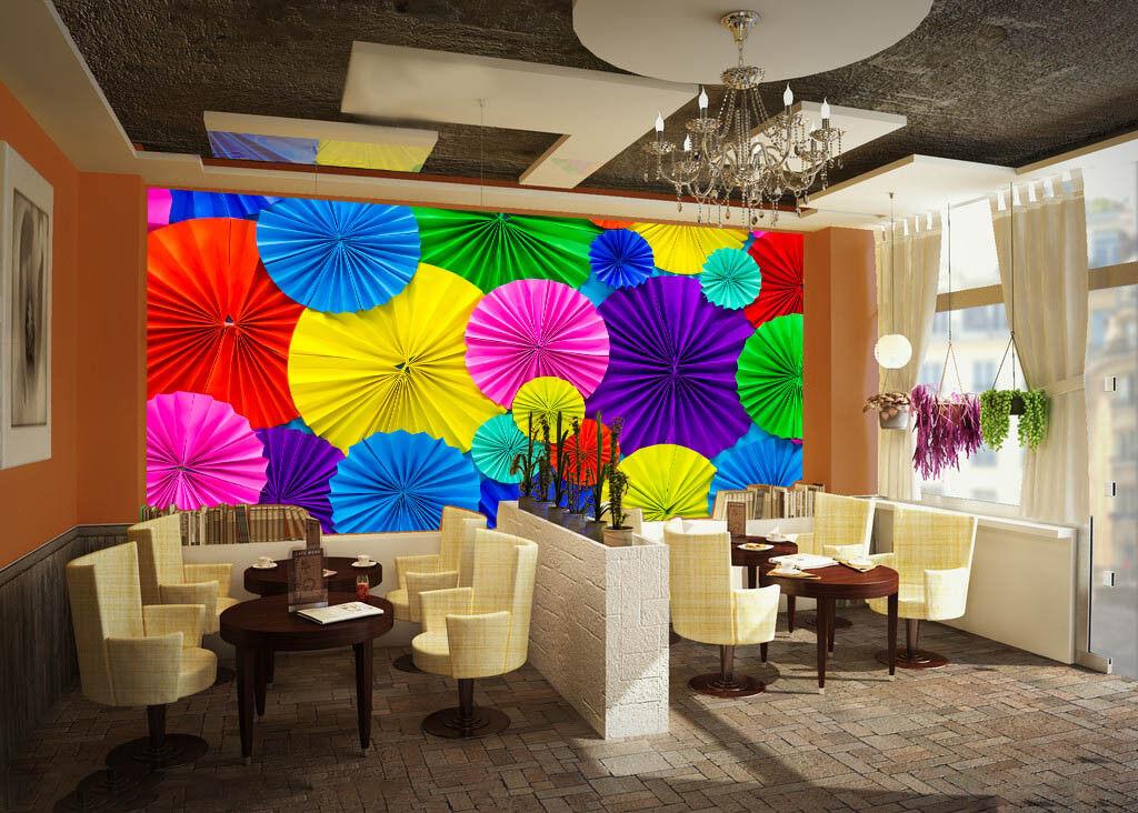 3D Farbe Umbrella 728 Wallpaper Mural Paper Wall Print Wallpaper Murals UK Lemon