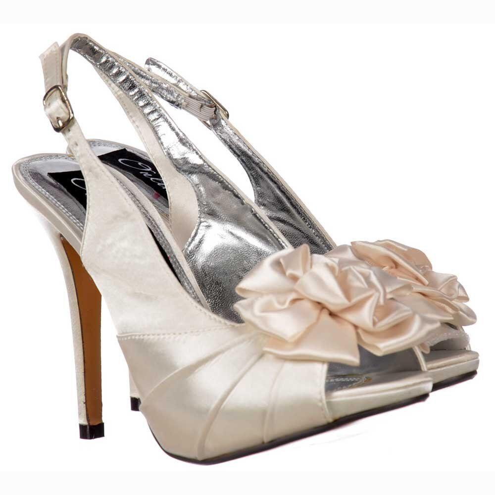 Ladies Bridal Wedding Shoes Peep Toe Slingback With Flower - Ivory Satin UK6 UK7