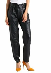 Women's Brand New Real Black Lambskin Leather Pant Designer Belted Comfort Chino