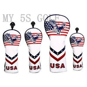 Golf-Club-Driver-Fairway-Wood-Head-Cover-USA-Flag-for-Titleist-Mizuno-PU-Leather