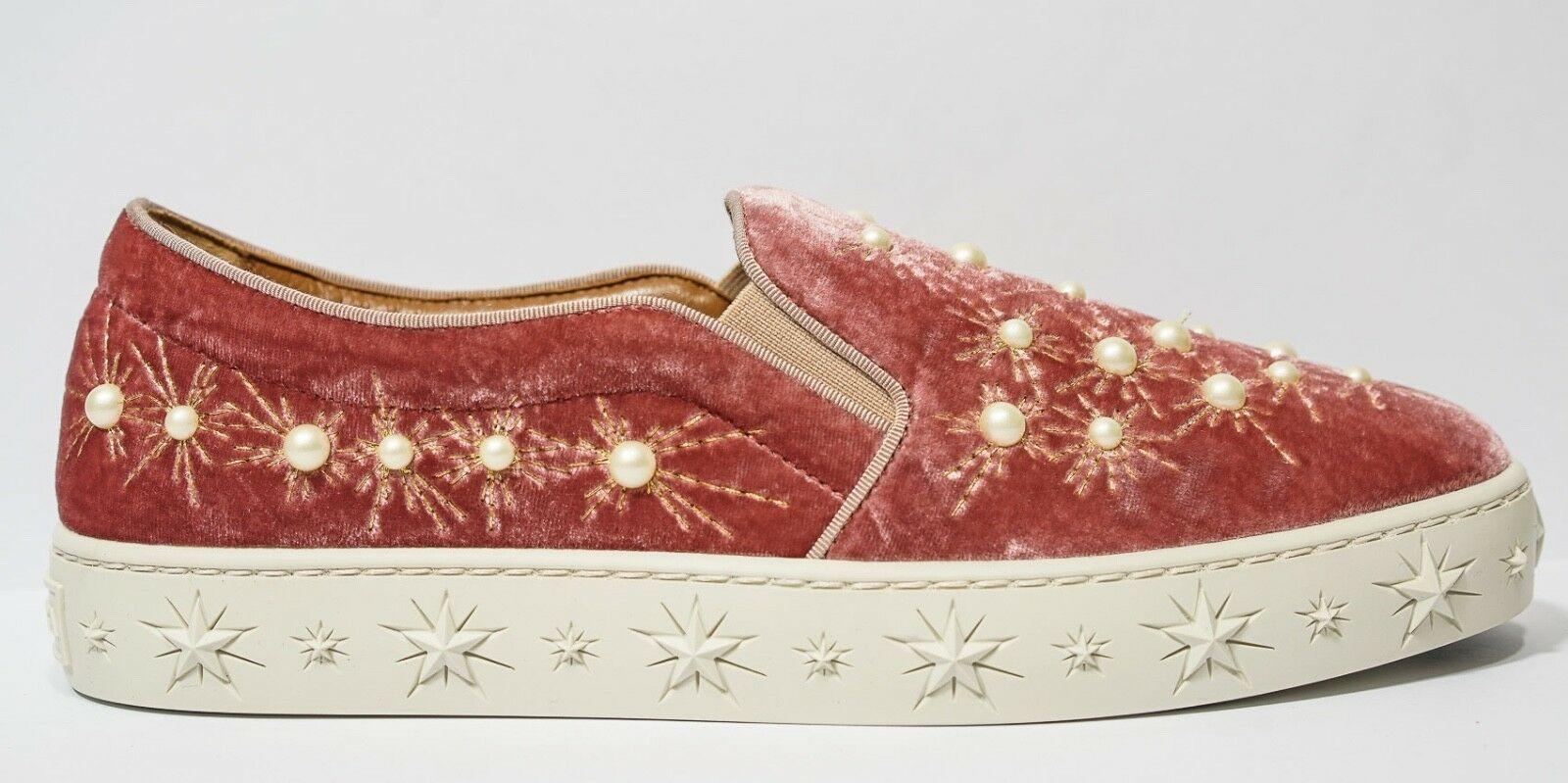 New in Box Aquazzura Ladies pink Velvet Velvet Velvet & Pearl Slip On Cosmic a9578e
