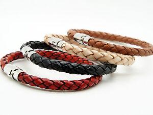 Mens-Women-039-s-Stainless-Steel-Genuine-Leather-Bracelet-Brown-Black-Beige-Red
