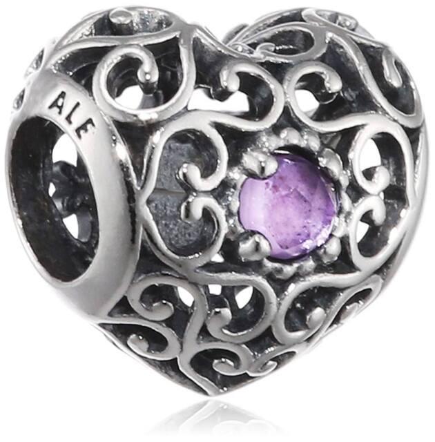 548fb380e PANDORA 791784sam February Signature Heart Synthetic Charm for sale ...