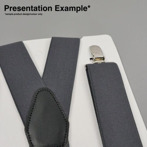Navy Blue White Stripes Clip On Trouser Braces Elastic Suspenders Handmade UK