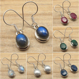 925-Silver-Plated-Real-LABRADORITE-amp-Other-Gemstone-FASHION-Jewelry-Earrings-NEW