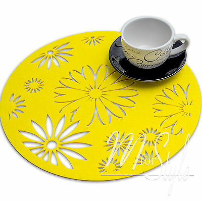PAIR of Yellow Round QUALITY FELT PLACEMAT Table Mat  Floral Design