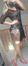 MONSOON women black  see through crochet dress beach dress 14 UK  42 Eur