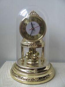 Rare-vintage-mantel-clock-HUABA-spinning-pendulum-1980-039-s