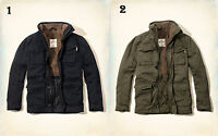 NWT Hollister by Abercrombie Twill Shirt Jacket Sherpa Fur Navy Olive S/M/L/XL