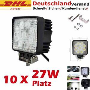 10x 27W LED Arbeitsscheinwerfer 12V 24V Offroad Scheinwerfer Weiß für Jeep SUV