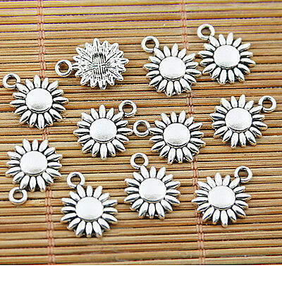 30pcs tibetan silver tone 11.7mm flower charms EF1571