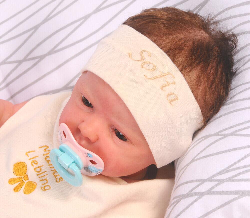 Stirnband Wunschname Kopfband Jungen NAMEN bestickt Baby Kinder Ohrschutz 34-52