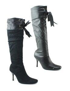 Senoras-para-mujer-Negro-Rodilla-Botas-Tacon-Alto-estilo-pirata-Cinta-Brazalete-Zapatos-Talla