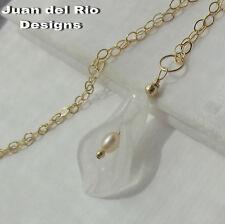 SALE! Calla Blütenkelch Jade Zuchtperle Anhänger Kette Collier 585 Gold 14K ygf