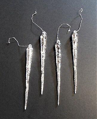 4 Eiszapfen Schnee Eiskristalle Eis Winterdekoration Zapfen Weihnachtsdekoration