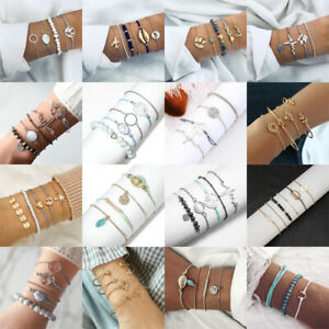 Fashion-Women-Rope-Natural-Stone-Crystal-Chain-Alloy-Bracelets-Set-Jewelry-Gift
