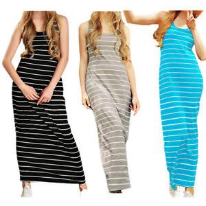 Summer-Womens-Sexy-Striped-Beach-Sundress-Pencil-A-line-Long-Maxi-Dress-CI