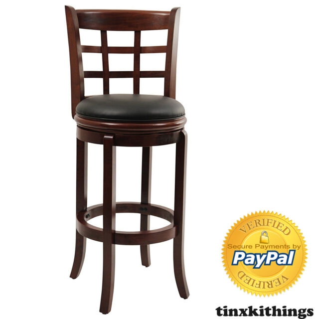 Faux Leather Swivel Bar Stool 29inch High Kitchen Counter Wood Chair Furniture