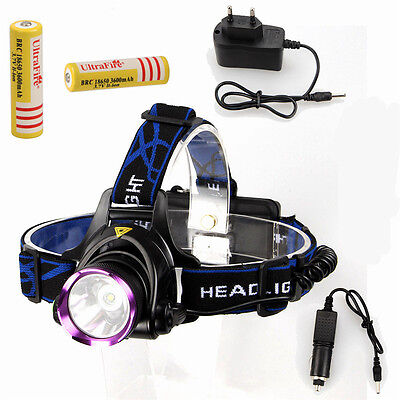 2500Lm CREE XML T6 LED Headlamp Frontal Phare Lampe Velo EU 18650 Piles chargeur
