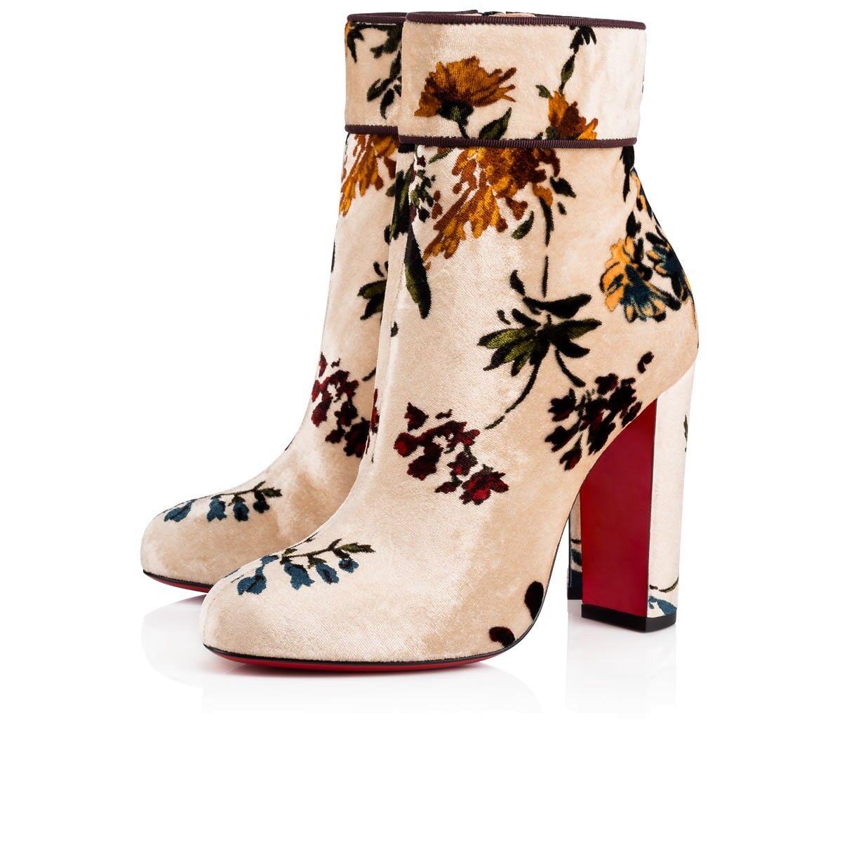 NIB Christian Louboutin Moulamax 100 Heel Nude ROT Velvet Floral Heel 100 Bootie Boot 35 052156