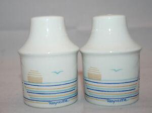 Vintage-Figgjo-Norway-Regatta-Salt-Pepper-Shakers-Set-Rare-Beach-Sunset-Seagull