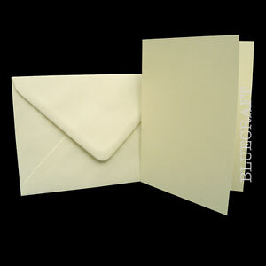 50-x-Luxury-Crafts-A6-Ivory-Card-Blanks-C6-Envelopes
