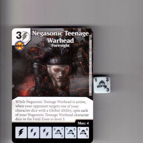 DICE MASTERS DEADPOOL COMMON #30 NEGASONIC TEENAGE WARHEAD FORESIGHT CARD /& DICE