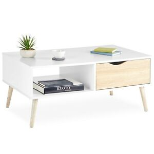 Details About Vonhaus Coffee Table Scandinavian Nordic Style White And Light Oak Effect