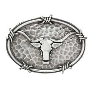 Longhorn-amp-Barbed-Wire-Edge-Western-Belt-BUCKLE-Silver-Steer-A37050