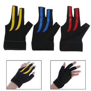 Snooker-Billiard-Cue-Spandex-Gloves-Pool-Left-Hand-Open-Three-Finger-Glo-UQ