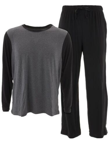 Championship Gold Men/'s Black Knit Pajamas Lightweight Long Sleeved Pajama Set