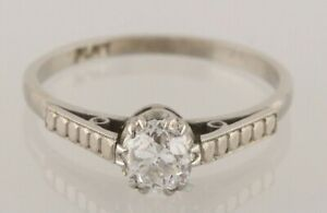 Vintage-Platinum-Round-Diamond-0-50pts-Solitaire-Ring-Size-N-1-2