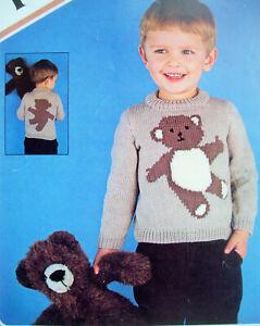07b4b1df917 Details about Boys Girls TEDDY BEAR Intarsia JUMPER KNITTING PATTERN DK 22  - 26in 2 -6 yr P410