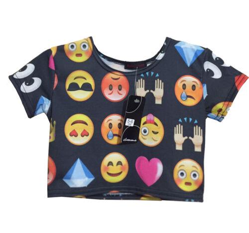 KID/'S Filles Emoji Print Crop Top à manches courtes été T-shirts danse 5-12 ans