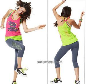 ZUMBA-FITNESS-2-PIECE-SET-CAPRI-LEGGINGS-PANTS-amp-Shirt-BUBBLE-Top-RACERBACK