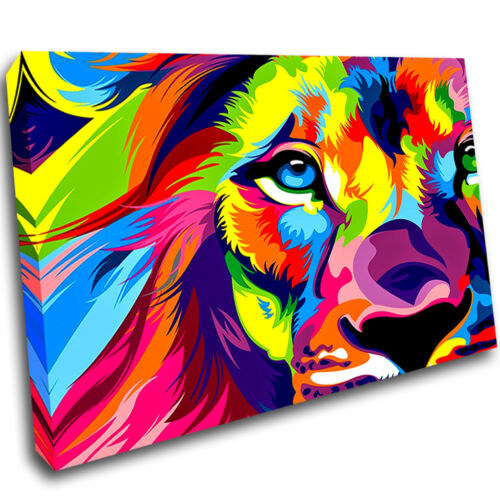 Colourful Lion Animal Bedroom Framed Wall Canvas 3D Art Picture Mount Room R778