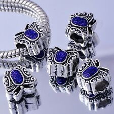 5Pcs White Gold Filled/Silver BEADS Betterfly Enamel March Bracelet Chic